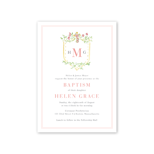 Pink Cross Baptism Invitation