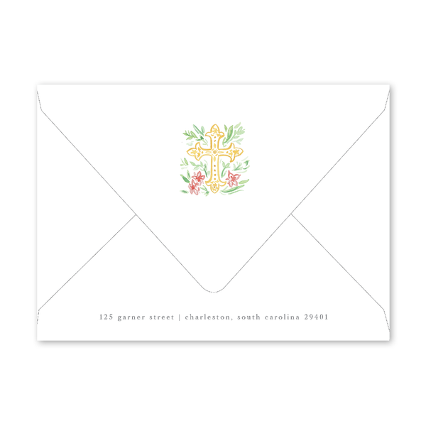 Pink Cross Baptism Invitation Envelopes