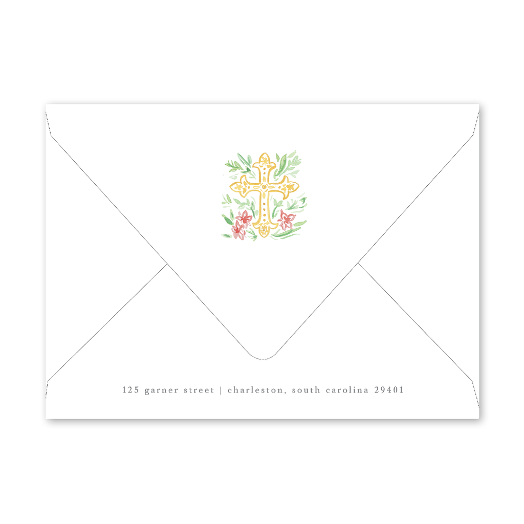Pink Cross Birth Announcement Envelopes
