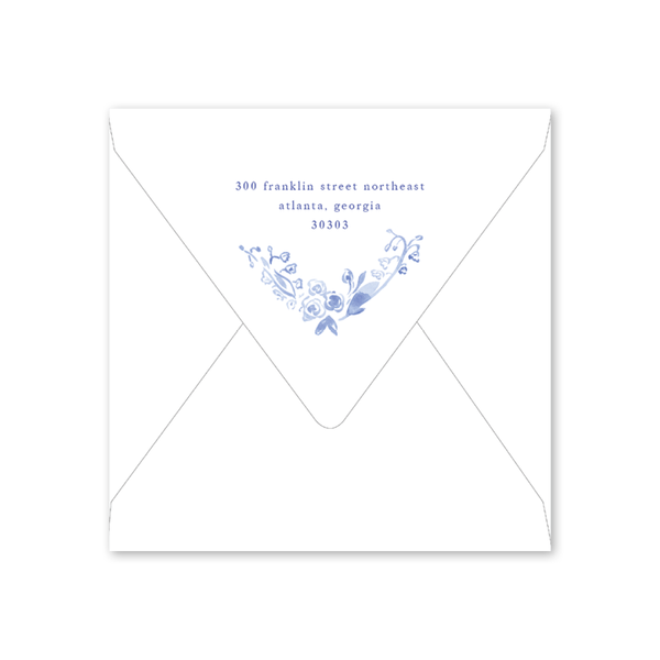 Blue and White Bridal Tea Envelopes
