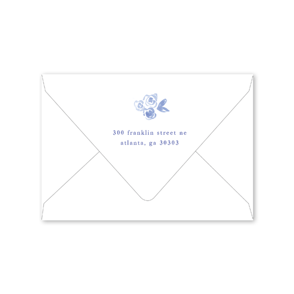 Blue and White Folded Notecard Envelopes