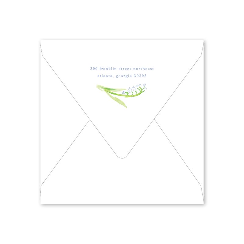Lily of the Valley Blue Baby Shower Envelopes
