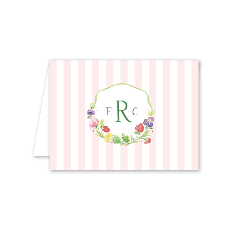 Strawberry Picnic Folded Notecard