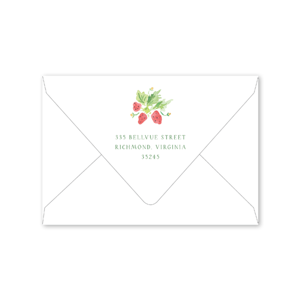 Strawberry Picnic Folded Notecard Envelopes
