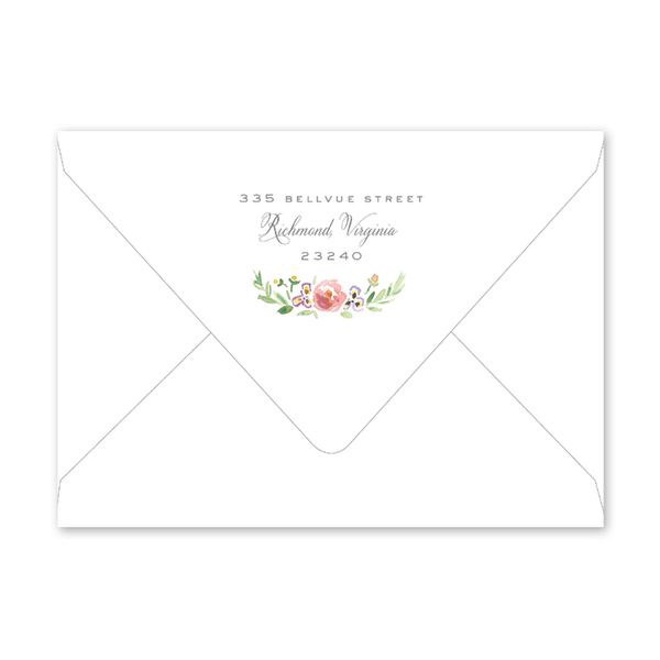 Wildflower Crest Bridal Shower/Tea Envelopes