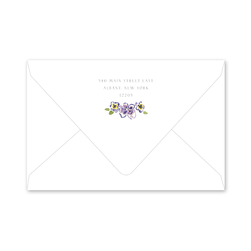 African Violets Portrait Birth Announcement Envelopes