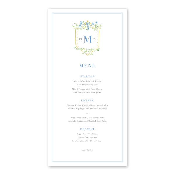 Blue Cross Baptism Menu