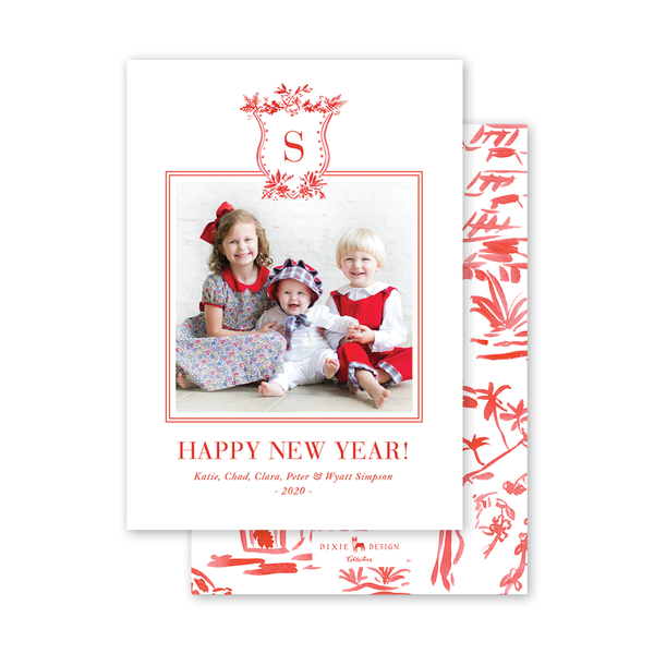 Red Toile Crest New Year