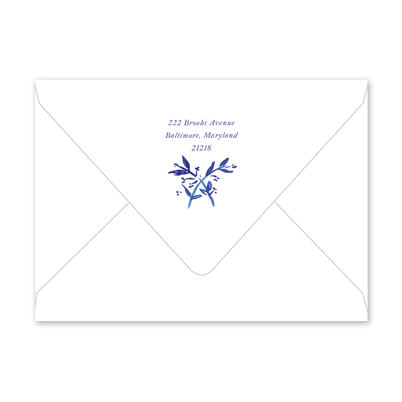 Blue Toile Crest New Year Envelopes