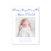 Blue and White Bow Scallop Birth Announcement