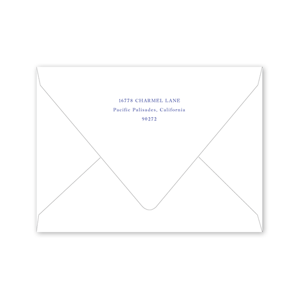 Blue and White Bow Scallop Birth Announcement Envelopes