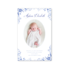 Blue and White Portrait Birth Announcement