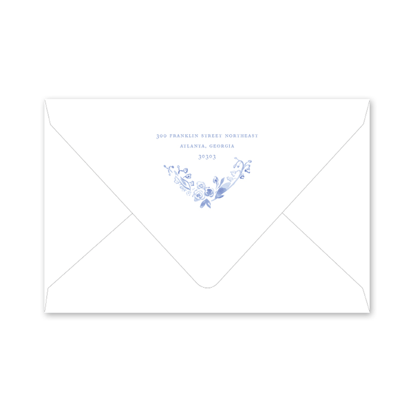 Blue and White Portrait Birth Announcement Envelopes