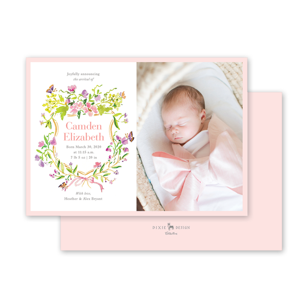 Butterfly Crest Birth Announcement