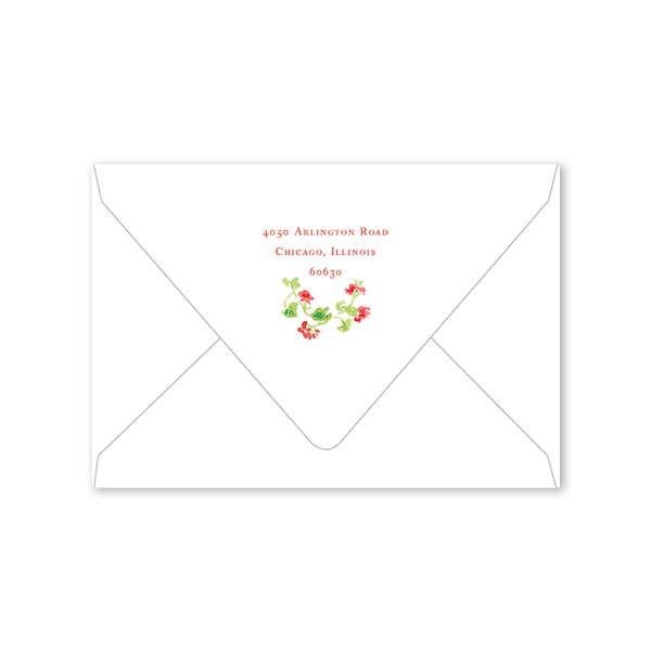 Geranium Crest Red Folded Notecard Envelopes