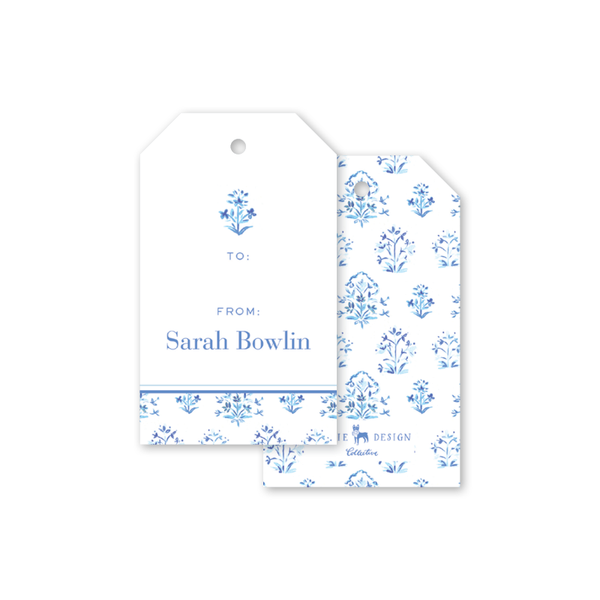 India Block Print Blue Gift Tags