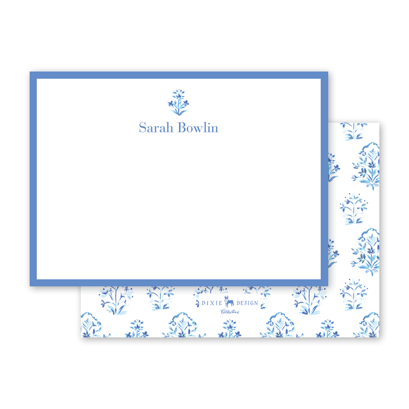 India Block Print Blue Notecard