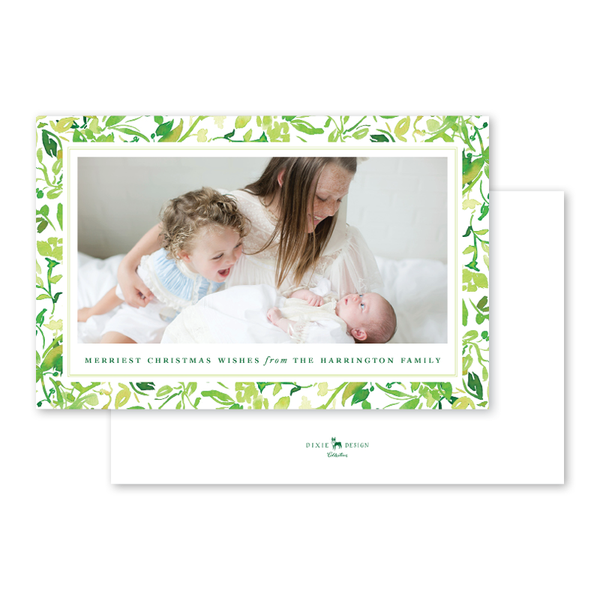 Holiday Greenery Birth Announcement
