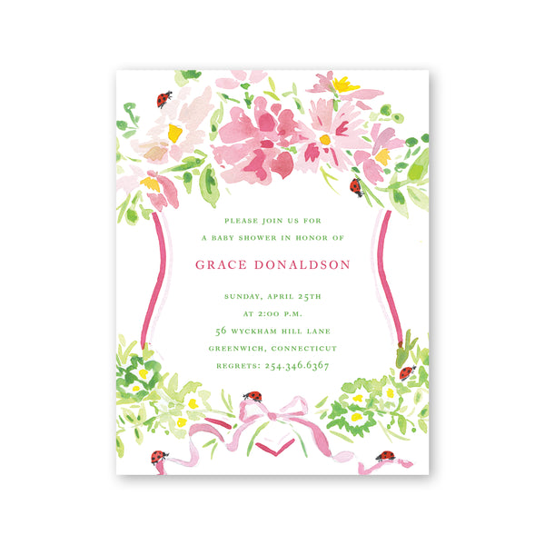 Pink Cosmos & Ladybug Crest Baby Shower