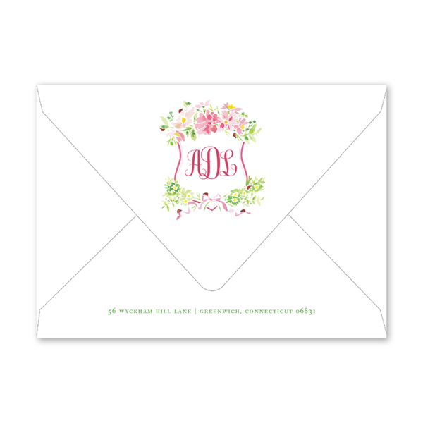 Pink Cosmos & Ladybug Birth Announcement Envelopes