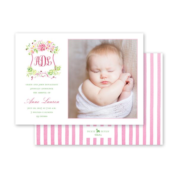 Pink Cosmos & Ladybug II Birth Announcement