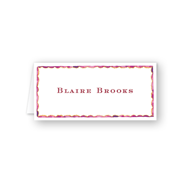 Burgundy Border Place Card