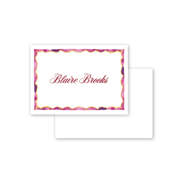 Burgundy Border Calling Card