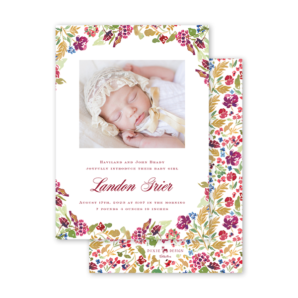 Burgundy Crest Border Birth Announcement