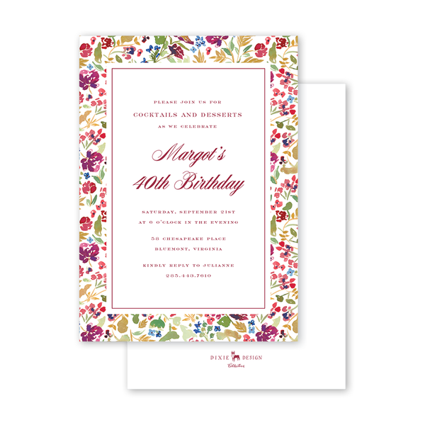 Burgundy Crest Border Birthday