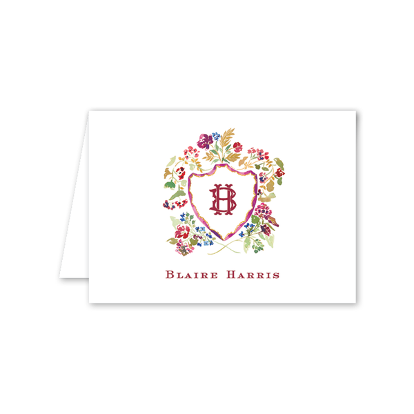 Burgundy Crest Folded Notecard