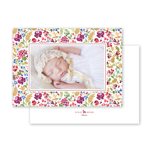 Burgundy Crest Landscape Border Birth Announcement