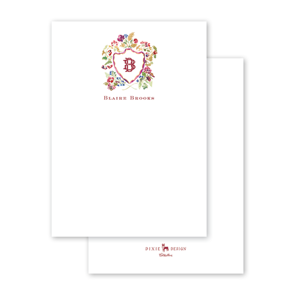 Burgundy Crest Notecard