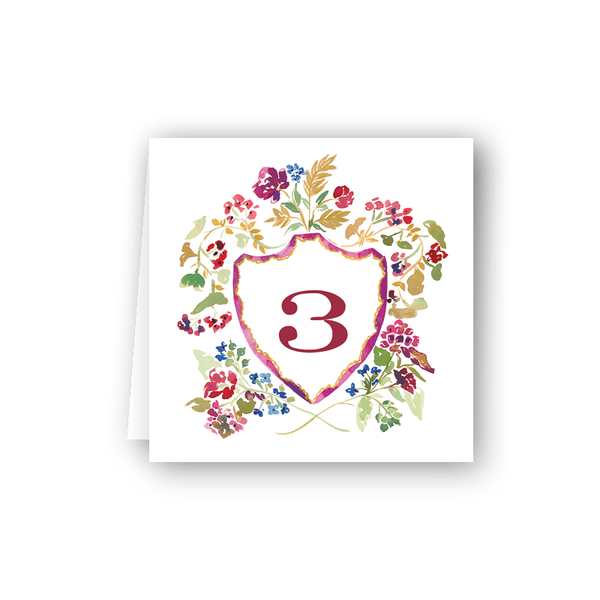 Burgundy Crest Table Numbers