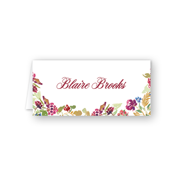 Burgundy Floral Place Card