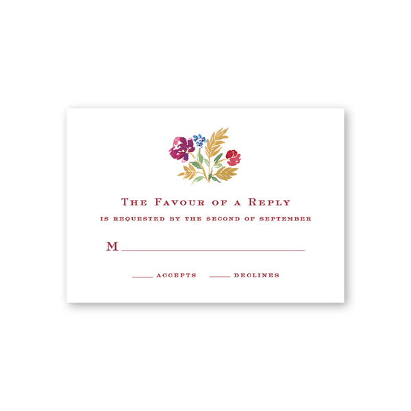 Burgundy Floral Reply Card