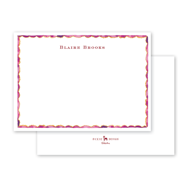 Burgundy Border Notecard