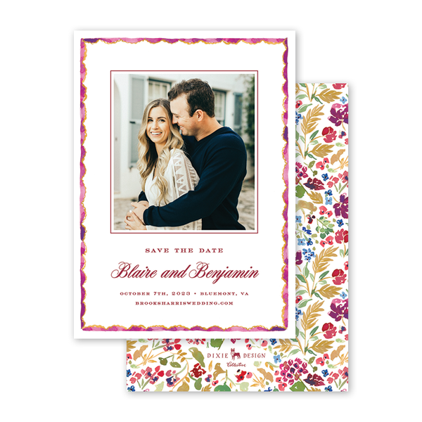 Burgundy Border Save The Date with Photo
