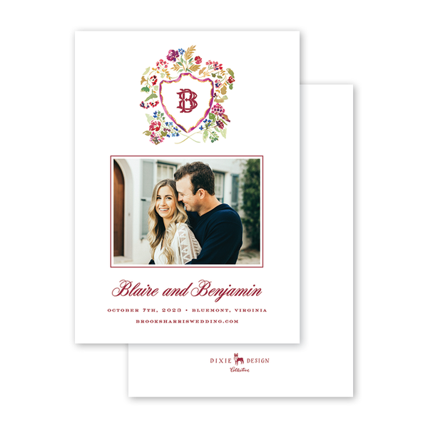 Burgundy Crest Save The Date with Photo