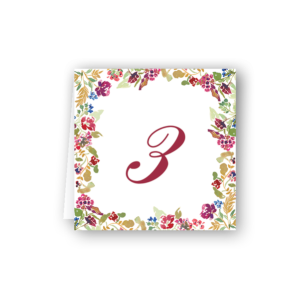 Burgundy Table Numbers