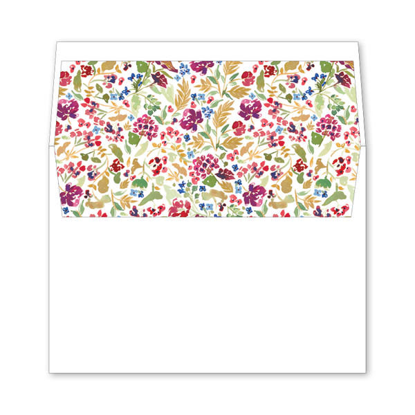 Burgundy Floral Wedding Invitation Envelope Liner