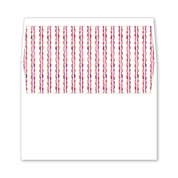 Burgundy Stripe Wedding Invitation Envelope Liner