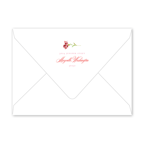 Carnations Bridal Luncheon Envelopes