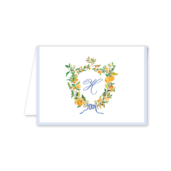 Clementine Blue Folded Notecard