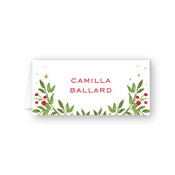 Holiday Hills Greenery Place Card