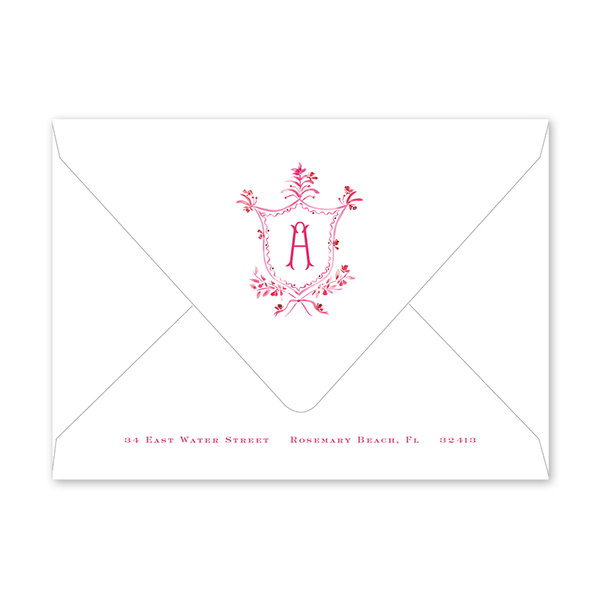 Pink Flutter Crest Invitation Envelopes