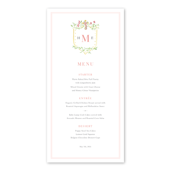 Pink Cross Baptism Menu