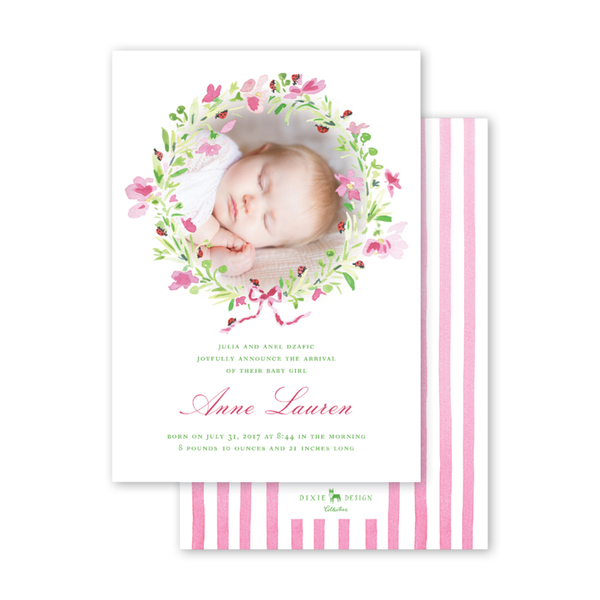 Pink Cosmos & Ladybug Wreath Birth Announcement