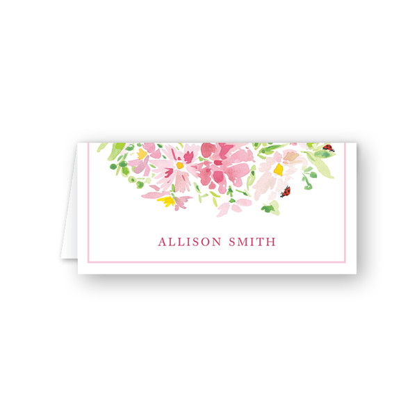Pink Cosmos & Ladybug Place Card