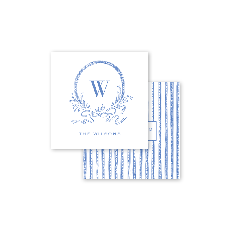 Blue & White Ribbon Crest Calling Card