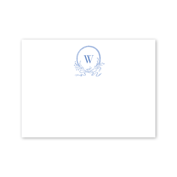 Blue & White Ribbon Crest Notecard